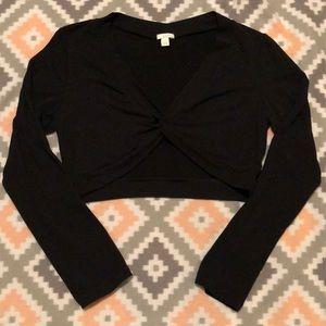 Apt.9 Black Long Sleeve Twist Front Crop Style Top